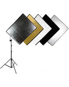 Refleks- og diffusorskjerm med paraplyfeste - 5i1 - 46x61 cm