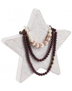 Halskjedeholder - Stjerne - Hvit lin - 15x15x2 cm