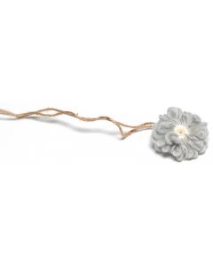 Hårbånd til nyfødtfotografering - Enkel blomst - Grå