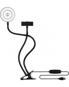 Bordklemme med armer, ringlampe og mobilholder