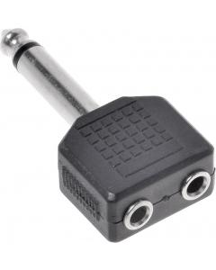 Adapter - 6.35 mm hann til 2x6.35 mm hunn