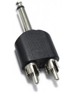 Adapter - 6.35 mm hann til 2xRCA hunn