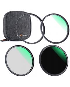 Filterpakke - UV+CPL+ND1000 - 62 mm - K&F Concept