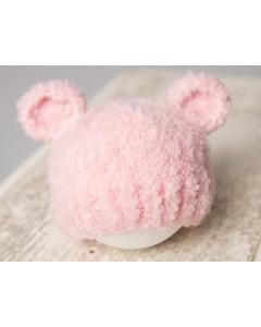 Lue med ører til nyfødtfotografering - Blush rosa